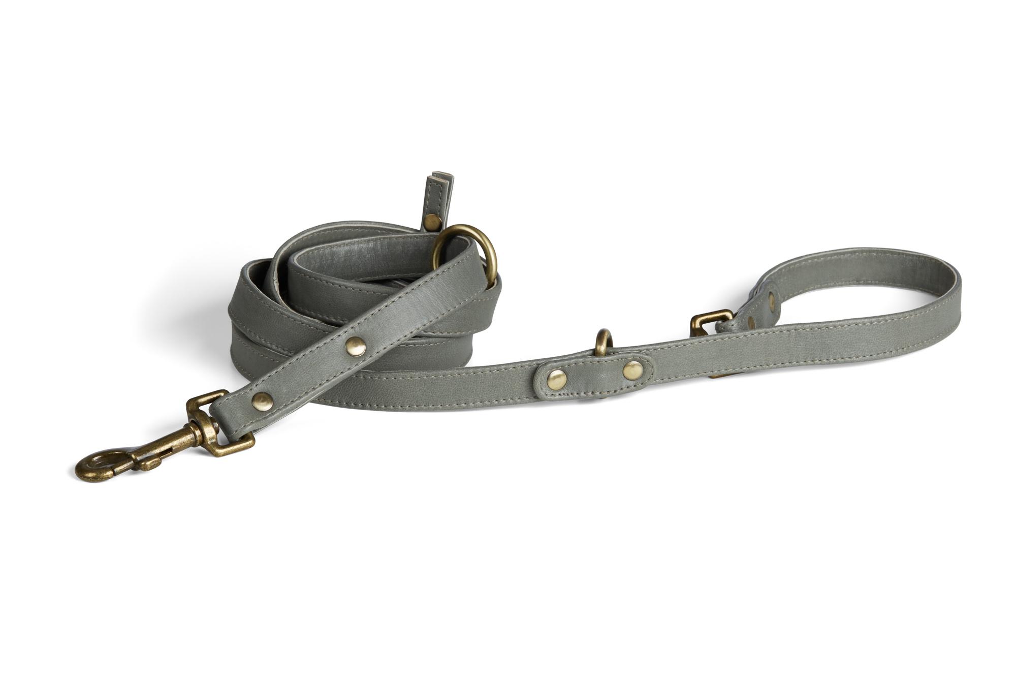 Monterey Grey Leather Dog Leash