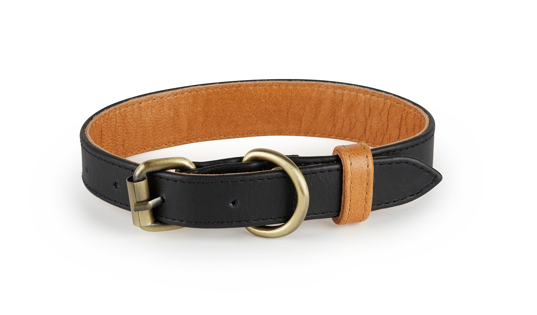 Hatteras - Black and Tan Leather Dog Collar