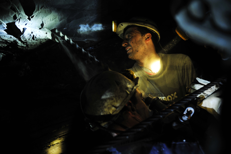 "Coal miner in the Brown Coal mine ""Breza"" which is located 20 km northwest of Sarajevo."
