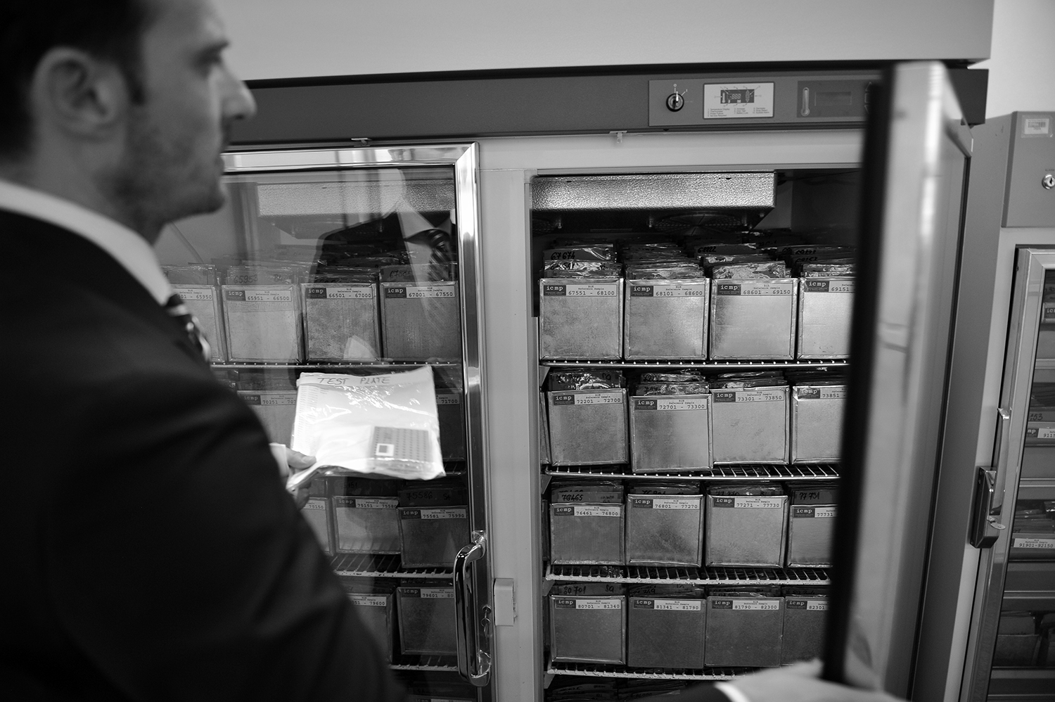 Edin Jasaragic, ICD Program Coordinator shows refrigerator with DNA samples at the ICMP Identification Coordination Division laboratory in Tuzla, Bosnia and Herzegovina. The lab is used to process samples for DNA testing and eventual matching between living relatives and deceased victims of the Bosnia war.