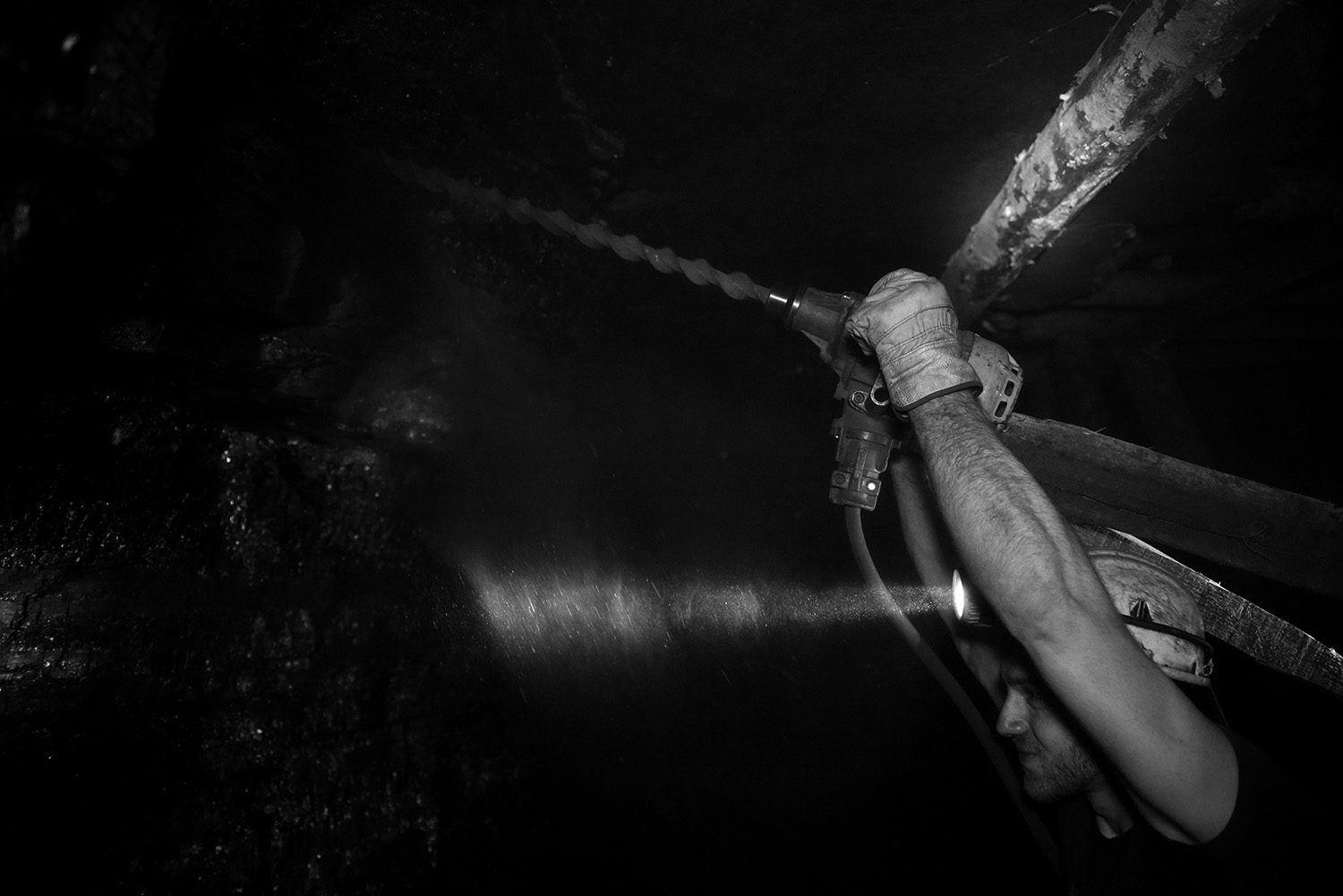 Adil Muhic drilled holes in which he will put the dynamite, by blasting will be conducted excavation of coall. He started working in the coal mine when he was nineteen years old. He is from Breza, his father and grandfather were also miners. Almost three years he works in a coal mine.