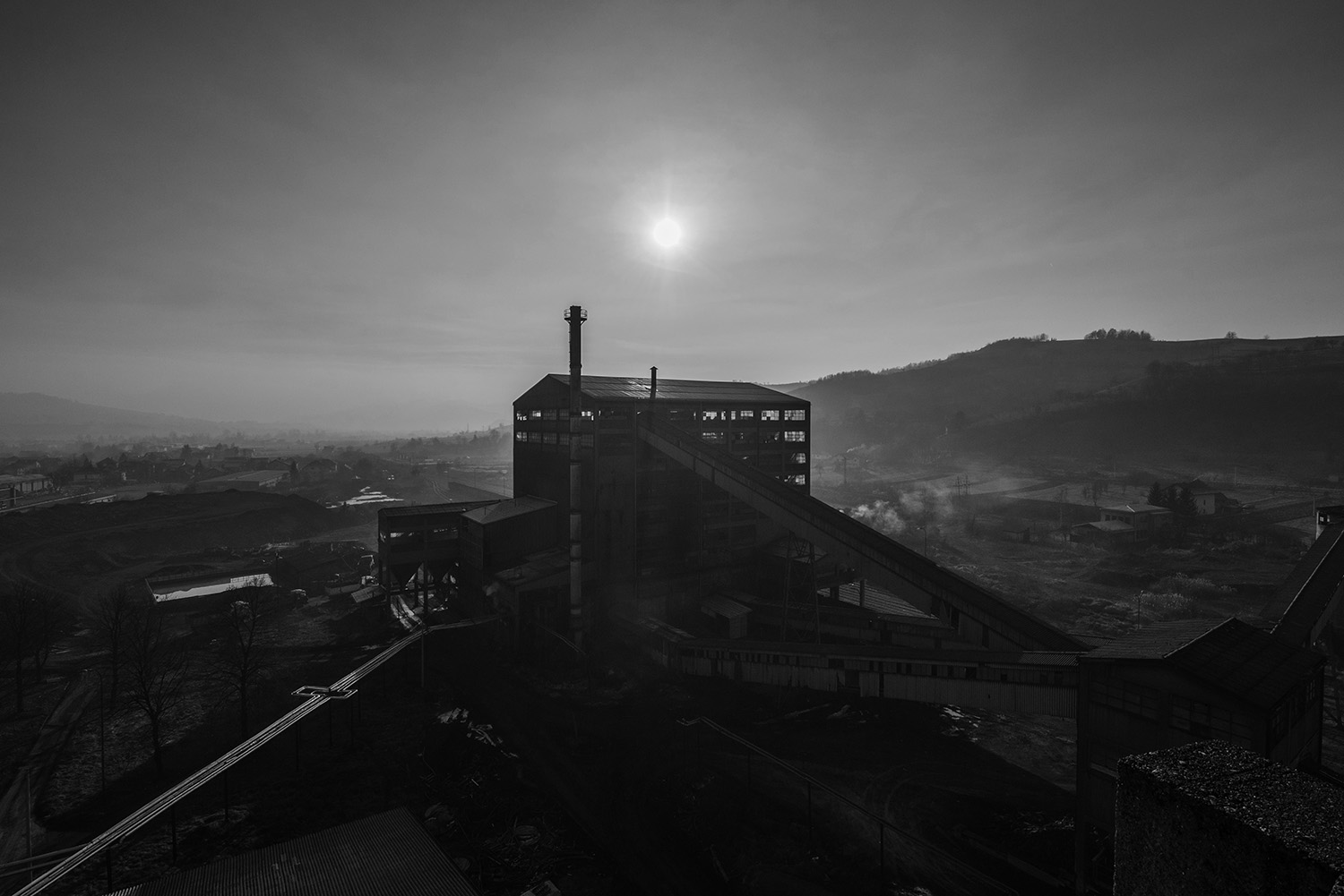 View of part of the Brown Coal Mine Breza where they doing the technological process of separation and washing of coal for medium and large pieces of coal. The whole technological process is fully mechanized.