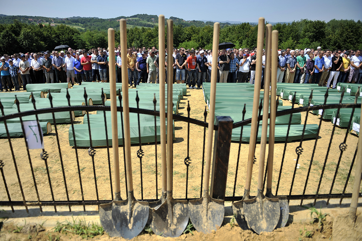 Shovels lie in wait for the final burial of murdered civilians exhumed from the Tomasica mass grave. Bosnai and Herzegovina