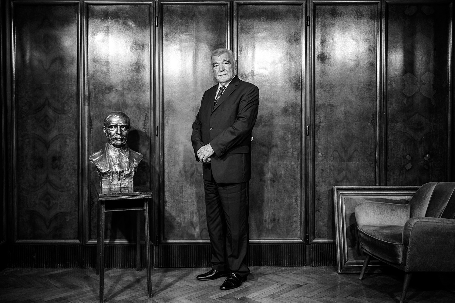 """Former Croatian President Stjepan Mesic poses after an interview for Radio Free Europe/Radio Liberty, the story series """"100 Years of Yugoslavia"""". Zagreb, Croatia"""