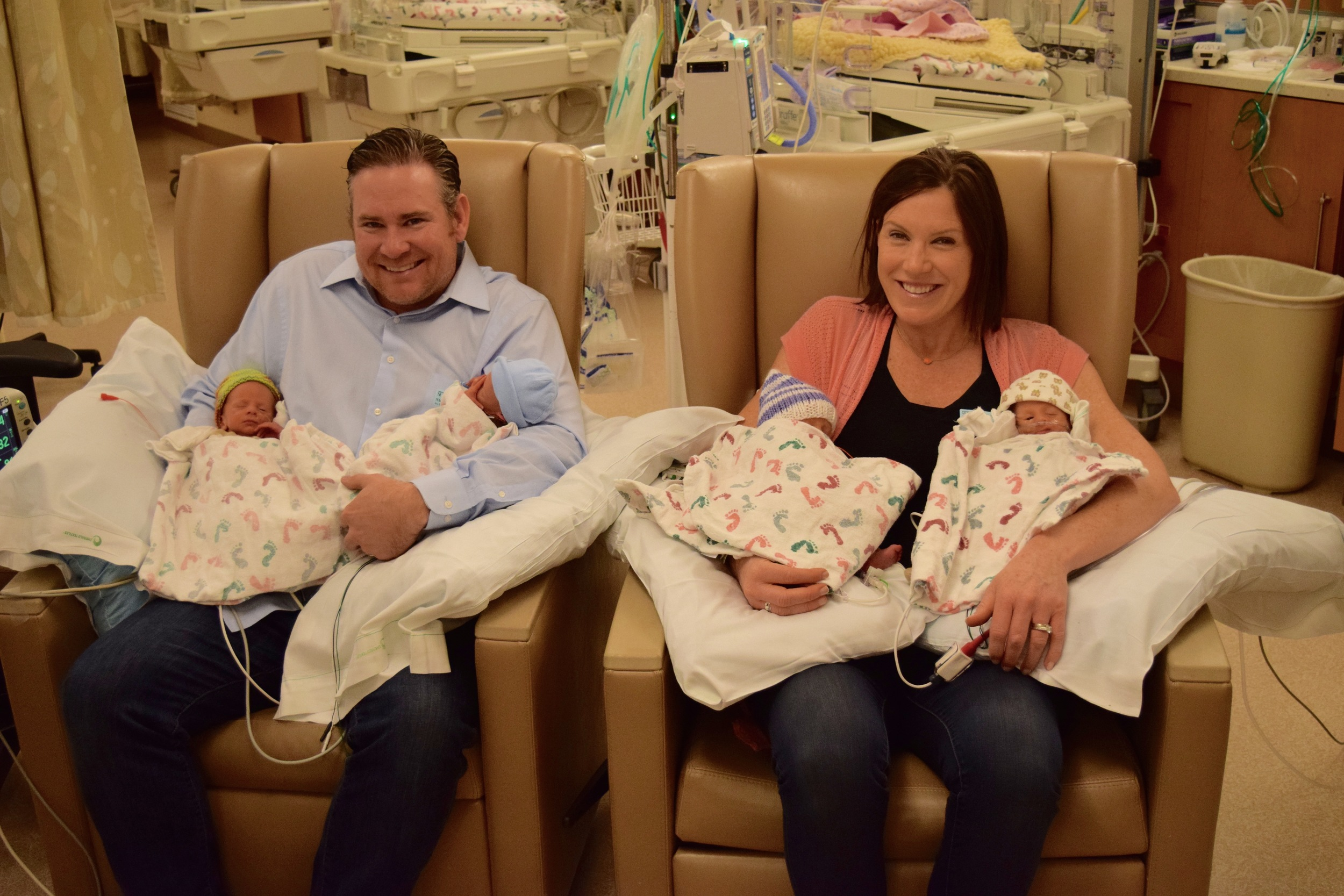 The quads at one week - and our first chance to hold them all at once. Left to right: Dillon, Henry, Claire & Charlie