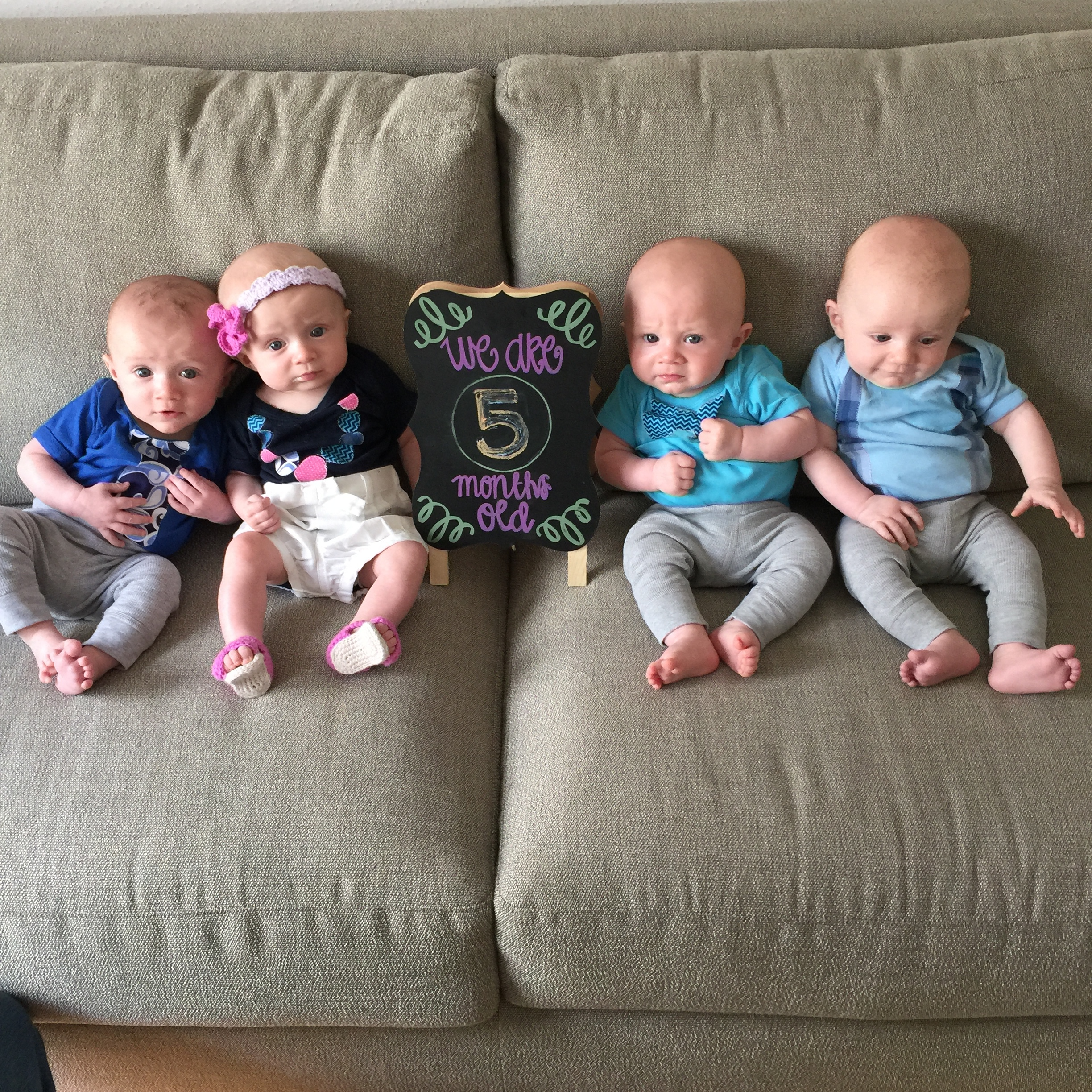 Charlie, Claire, Henry & Dillon at 5 Months