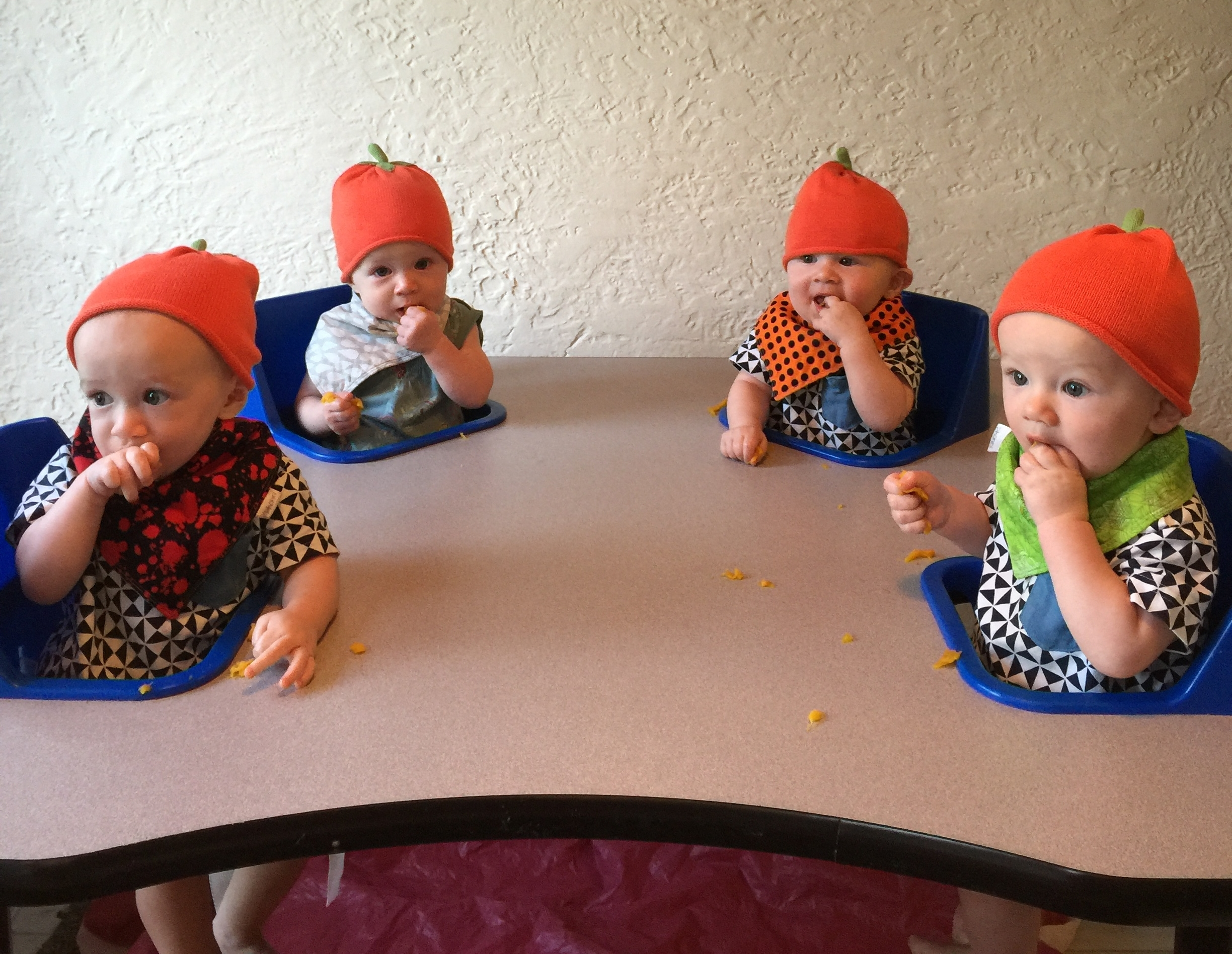 Charlie, Claire, Henry and Dillon enjoying their first tastes of pumpkin