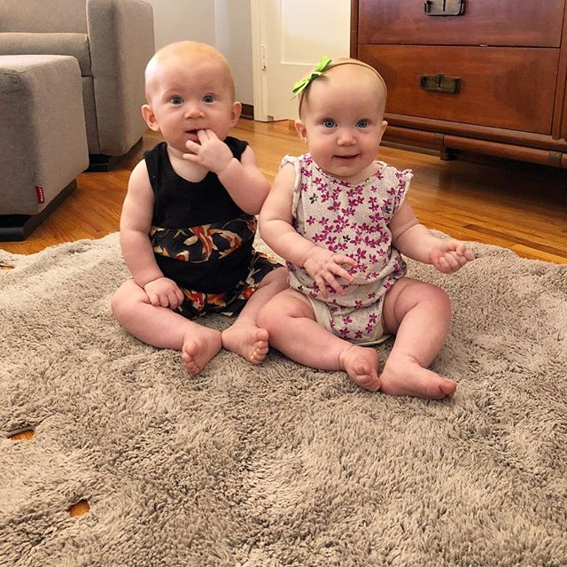 "These are my 7 month old roommates Gus & Hannah and they want to show you how good at sitting up they are! 😉 The rug is from @lorenacanalsrugs and they are machine washable...which at first I was like ""no big deal..."" and now with a house full of potty training 2-year old quadruplets and baby twins who are into everything it's kind of the best thing ever 🙌. Basically like having a professionally cleaned carpet every time you take it out of the washer!! 👌#lorenacanalsrugs #partner"