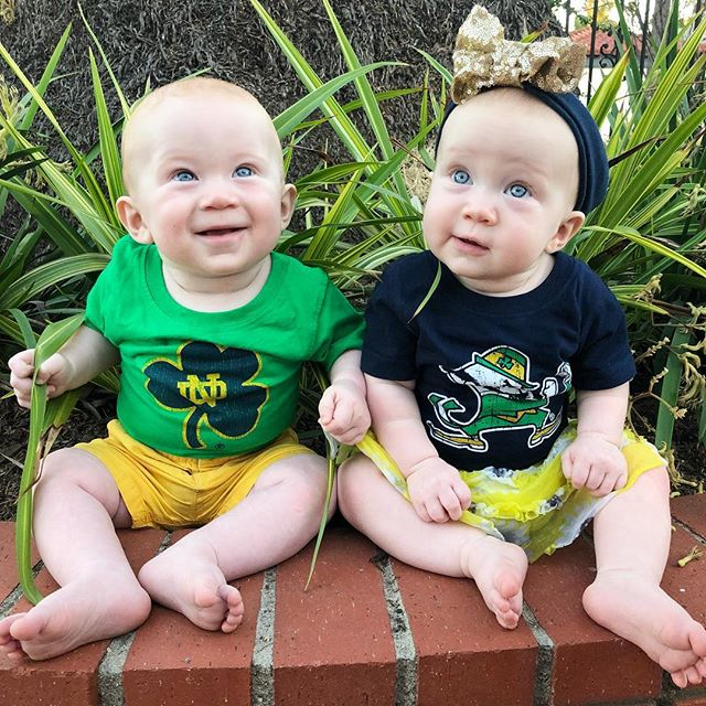 Partied pretty hard for the Notre Dame vs. Navy weekend here in San Diego. 🎉🏈 Gus & Hannah didn't get to tailgate or go to the game with us...but always ready just in case they got the call!! ☎️☘️ {And thanks for the awesome outfits Ms. Mary 😘💙💛} #notredamefootball
