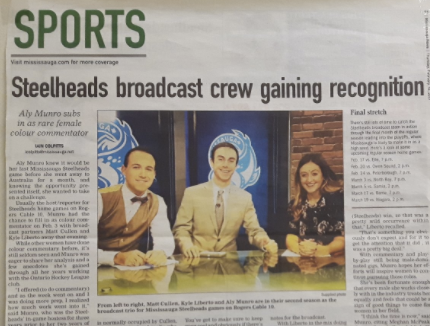 Iain Colpitts wrote an article about the Mississauga Steelheads Broadcast crew in February 2017 after I filled in as a Colour Commentator.
