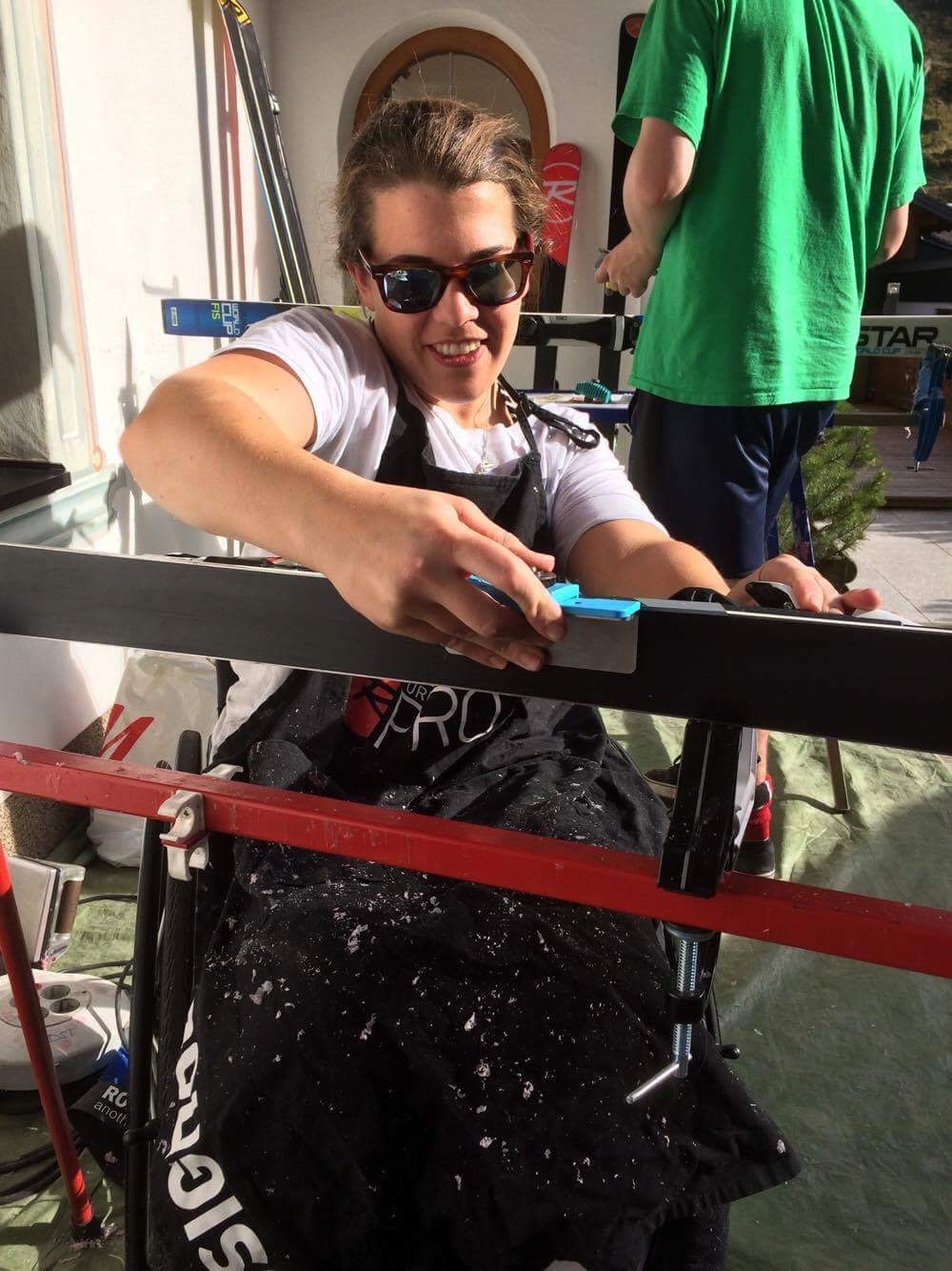 Tuning skis in the sunshine