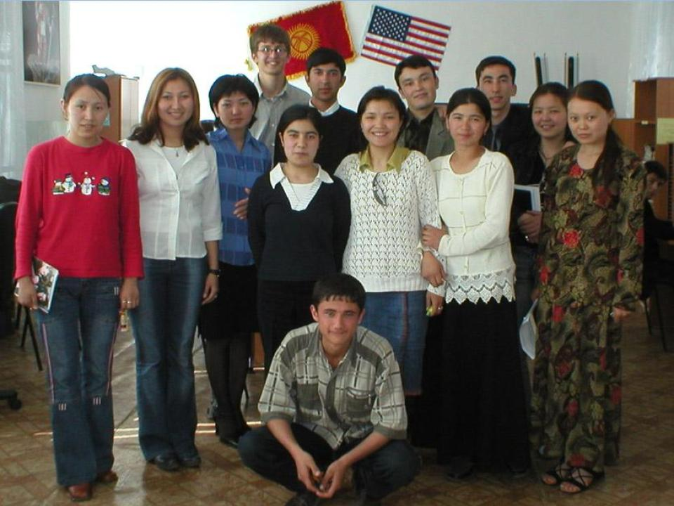 Austin and some of his students in Kyrgyzstan.