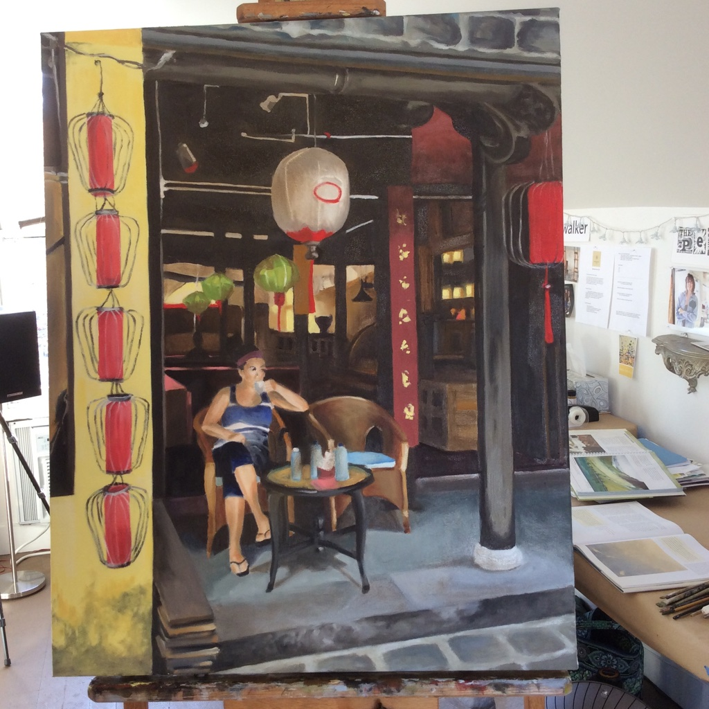 Hope to be finishing this 'Cup Of Tea in Vietnam' this week....photo reference from Jen Tice, who was there. I've never been to Vietnam. Studio in the background as this photo is not cropped.