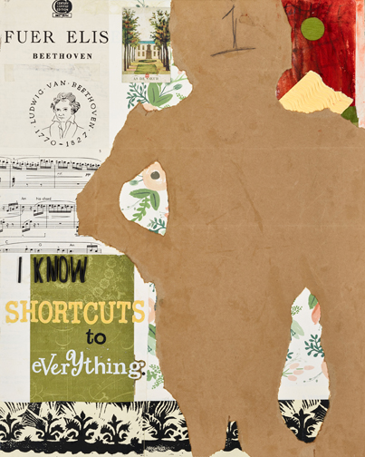 """I Know Shortcuts To Everything  oil on canvas with collage, 20""""x16"""""""