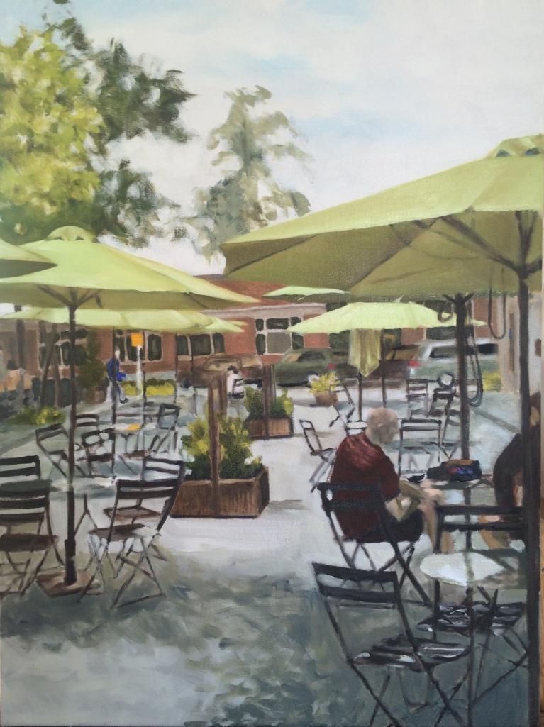 Those green umbrellas just grabbed me....this is a scene on Bainbridge Island near the bakery.