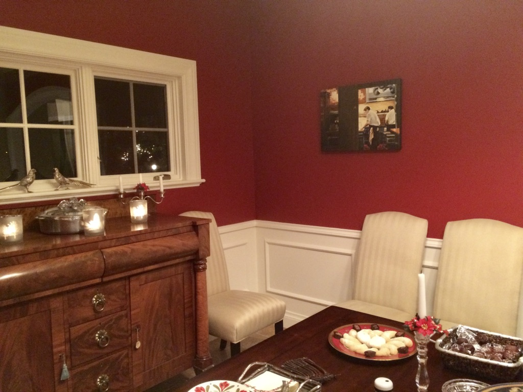 Here is the same room and painting BEFORE the custom framing...what a difference!