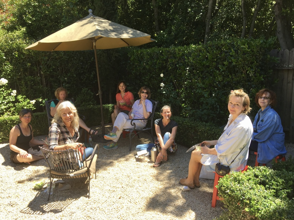 Marin County, Northern California, is a perfect setting. Here we are outside at the studio of  Elizabeth Gorek , our host.