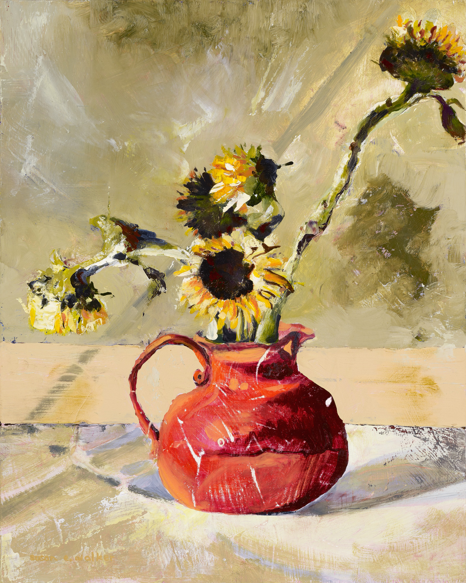 Sunflowers in a Red Pitcher