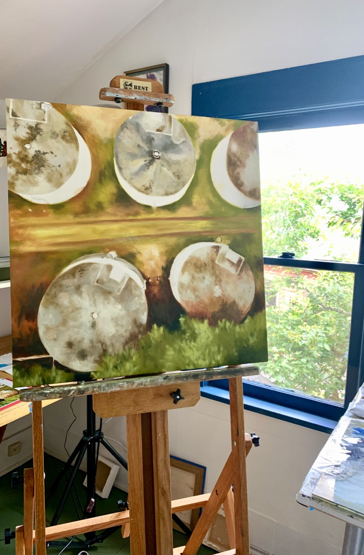 """Here is a drone shot of water towers my easel currently. The nature of this series of work is evolving into an almost """"abstract art"""" quality."""