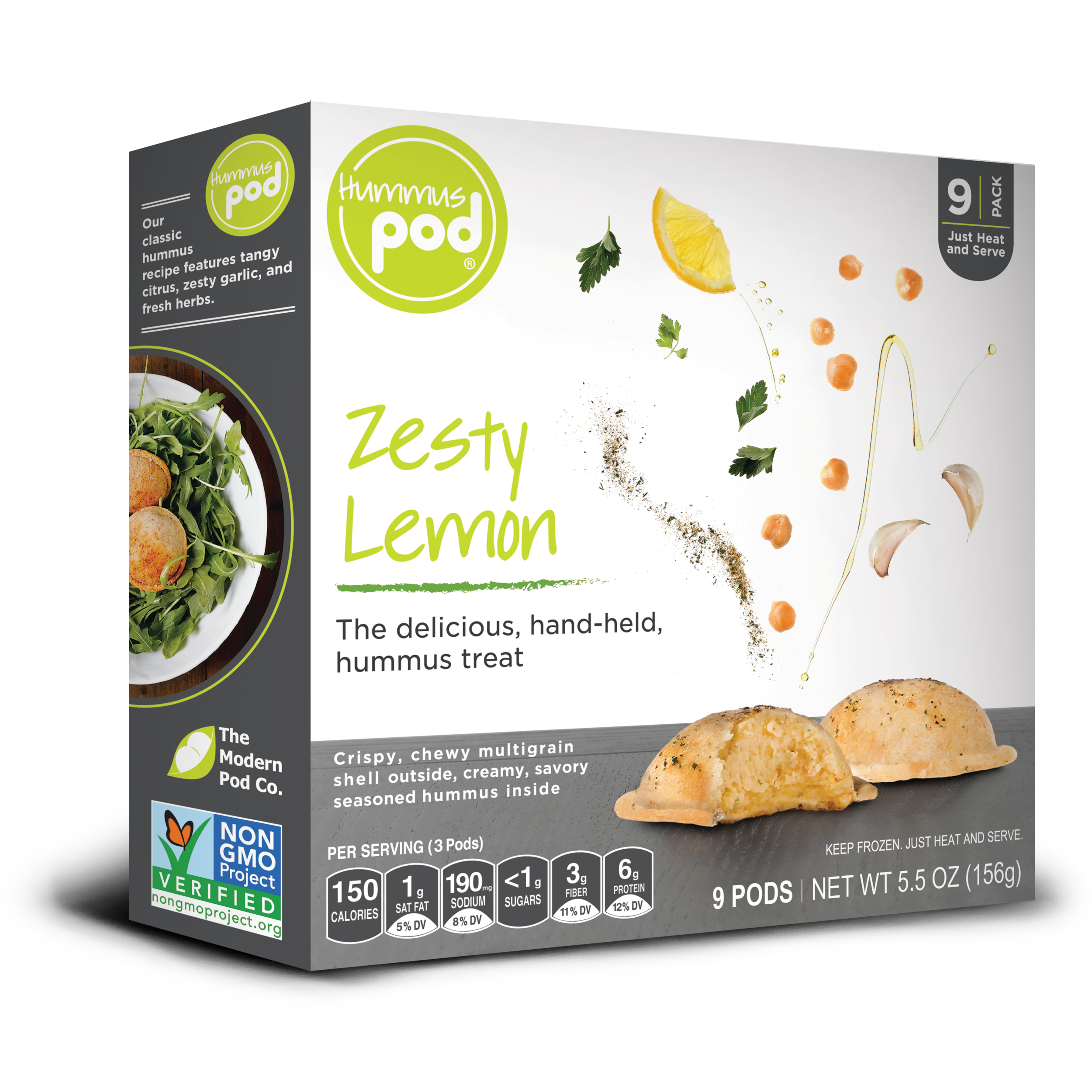 Zesty Lemon Hummus Pods. The delicious healthy hummus treat.
