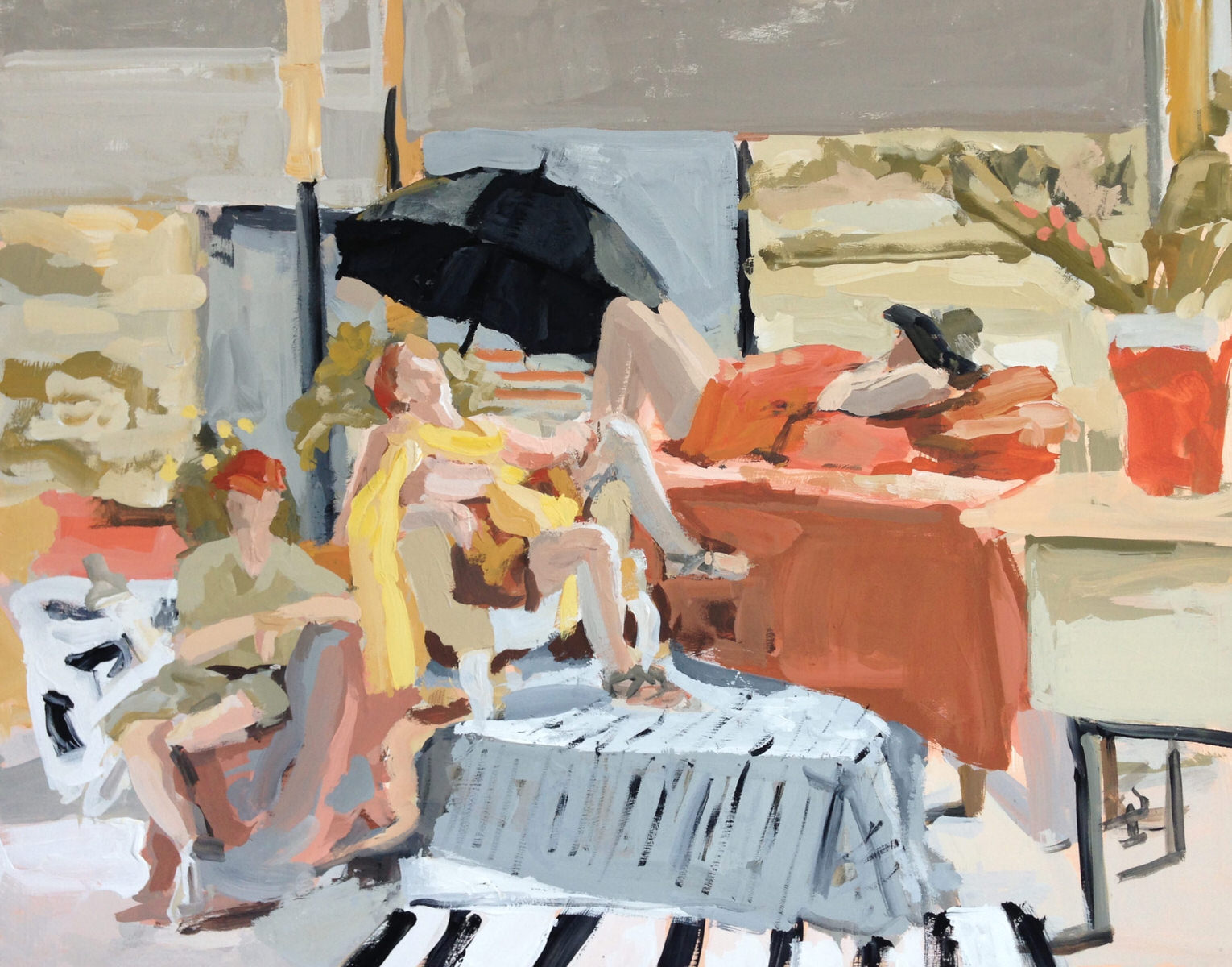 """Concord Art Members Juried 1 Show - """"Lazy Summer in the Studio"""" Juror's Prize  Juried by Joanna Fink, Alpha Gallery, Boston MA, May, 2017  """"This painting is enlivened by the interplay of arms, legs, furniture and objects around the room. The loose brushwork lends a sense of spontaneity to this posed scene. The composition is balanced by the strategic placement of certain colors. It all ties together successfully."""""""