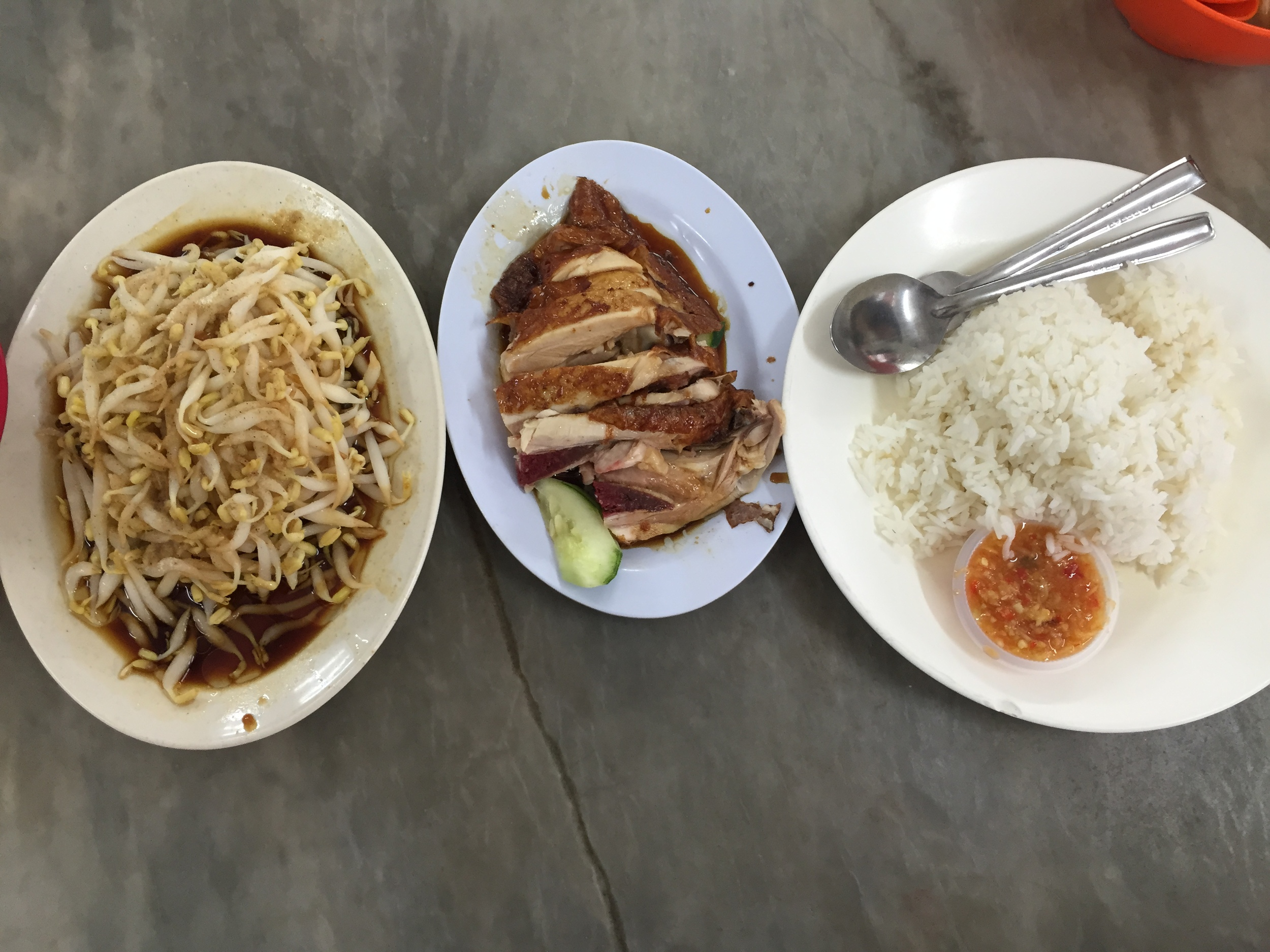 The next day I got to try: roasted chicken, pork and more of the delicious bean sprouts!