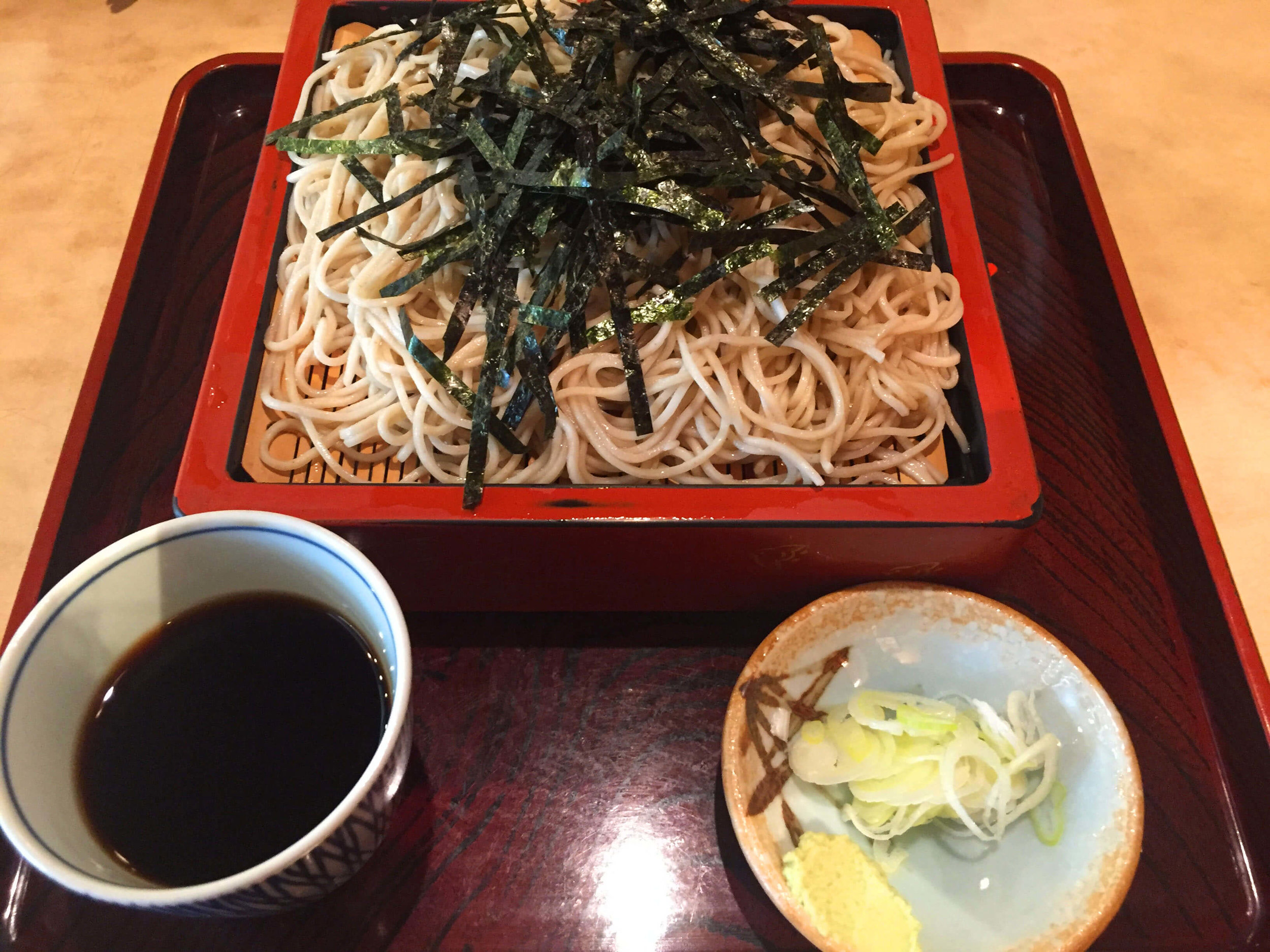 Trying delicious soba noodles