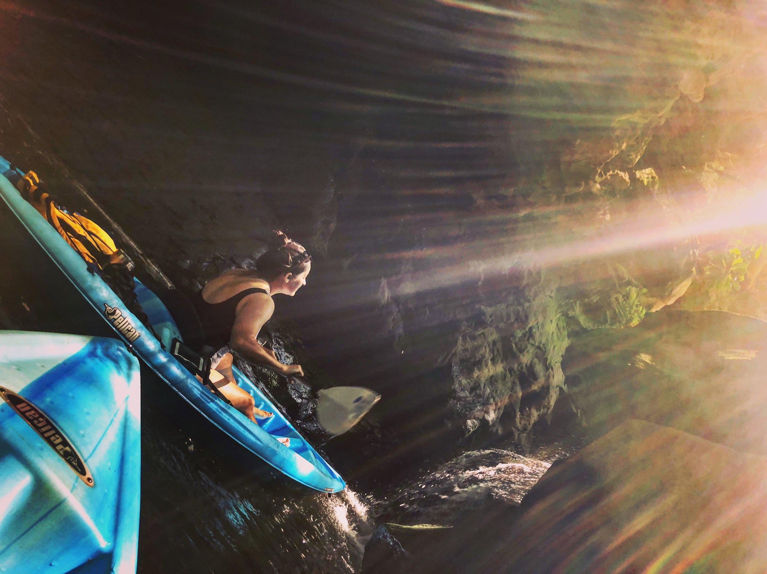Chasing Waterfalls on a Guided Kayaking Trip to Grayson Lake.