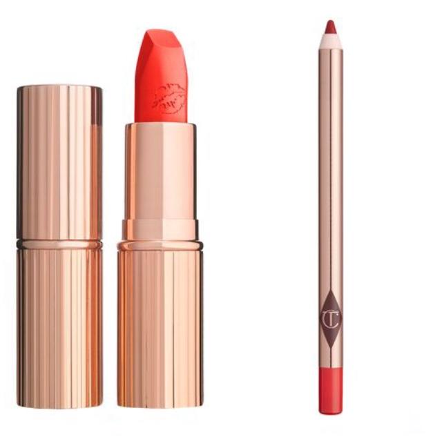 . - LipsCharlotte Tilbury, Tell Laura red lipstickchic cool orangey red lipCharlotte Tilbury, Kiss & Tell lip liner