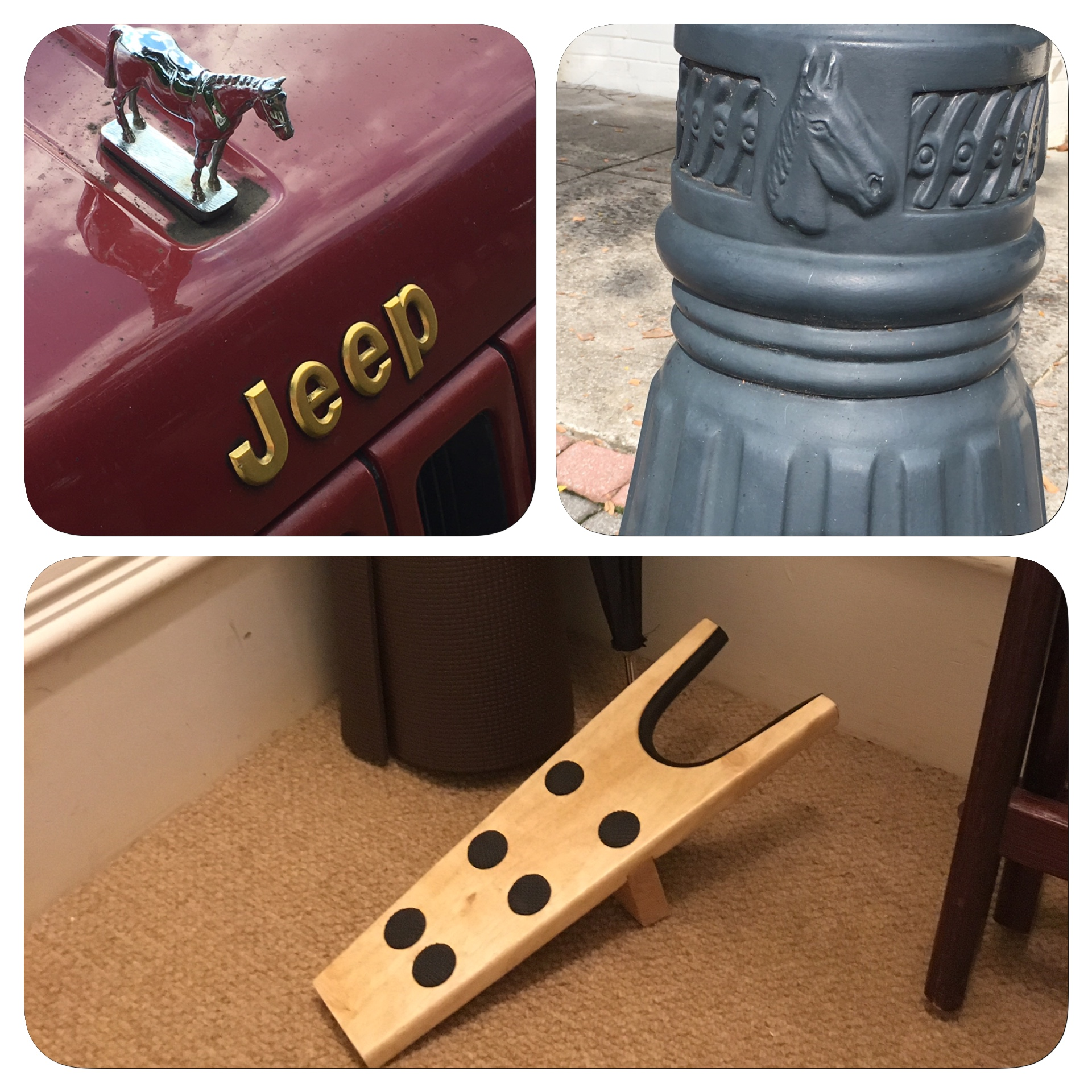 You know you are in an equestrian town when there is a boot jack in your closet. It even looks like a horse.