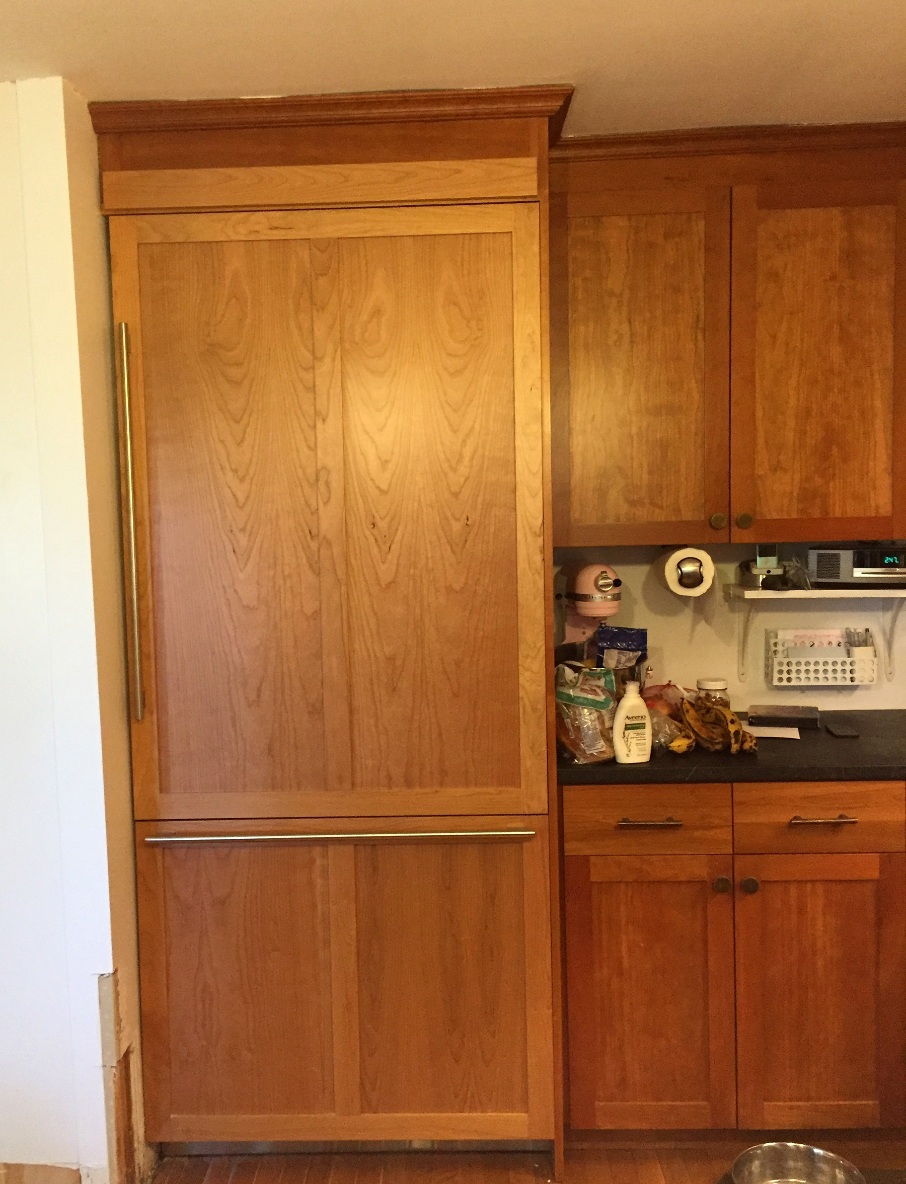 NEW: Thermodore 36: single door; custom panels to match my cherry wood cabinets, SubZero handles (Thermodore handles are really bulky and unattractive)