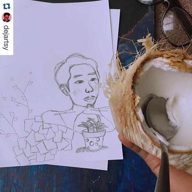What #thebroadvsas do on their days off. #sketch #coconut #Repost @dejartsy with @repostapp. ・・・ Rainy dayz #sketching #coconut #myfav