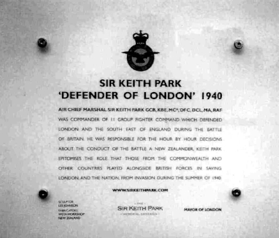 Interpretive panel for the Sir Keith Park Statue on the fourth plinth in Trafalgar Square, for six months in 2009-2010