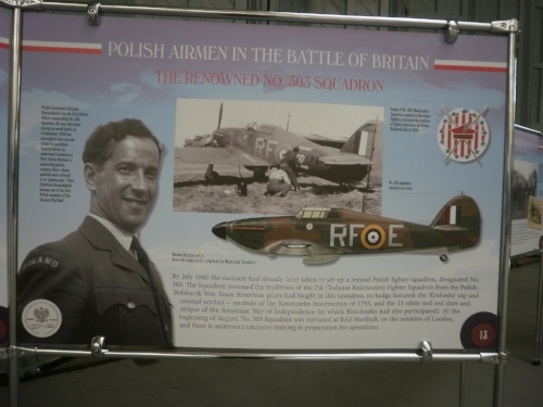 One of the interpretive panels displayed at Duxford Museum to commemorate the role of Polish aircrew during the Battle of Britain, including 303 Squadron's impressive success