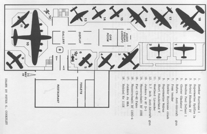 The RAF Museum's Battle of Britain Hall layout when it first opened in 1978.