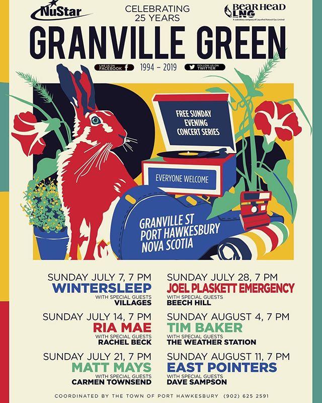 Granville Green lineup announced today! @rachelbeckmusic joins @riaisawake on July 14.  #RachelBeck #GranvilleGreen @musicpei