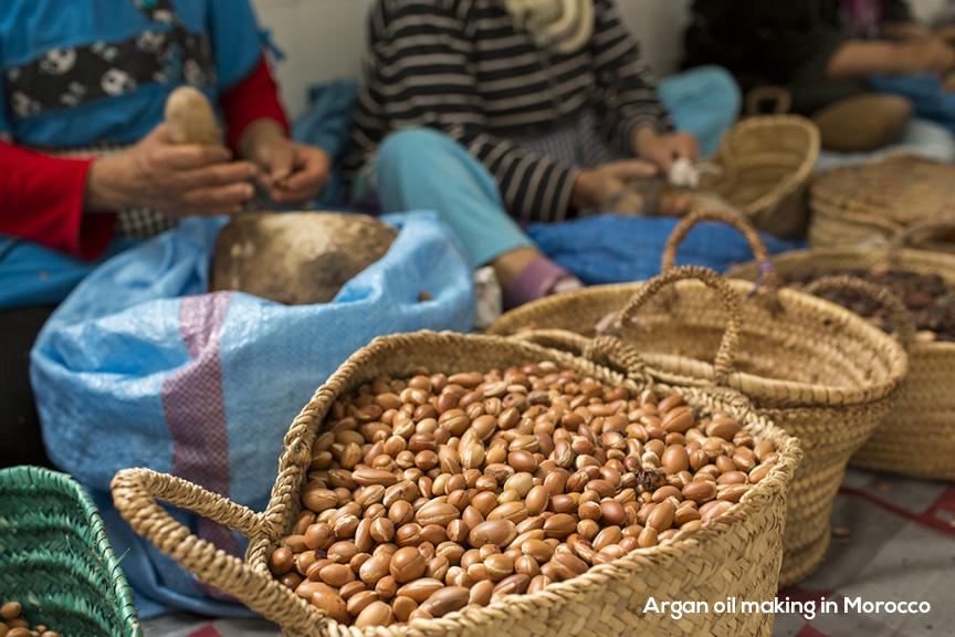 Argan oil making in morocco