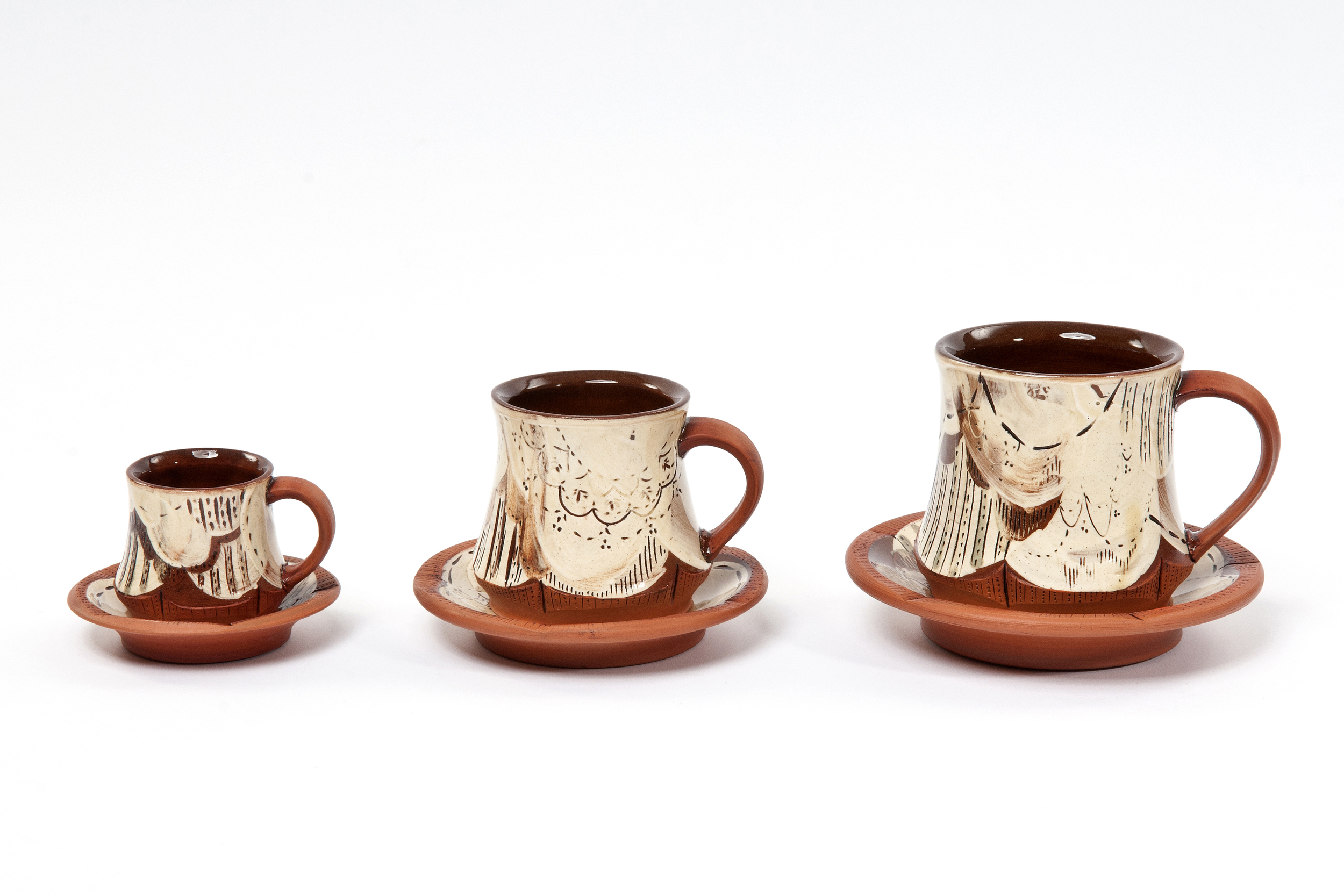 Cups and Saucers - Small £40, Medium £45, Large £50