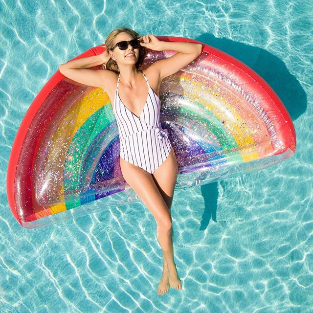 I wonder what rainbows think of us. @marlainapate  @argento . . . . #love #TFLers #fun #photooftheday #sun #amazing #smile #pool #swimwear #look #instalike #igers #picoftheday #food #instadaily #instafollow #followme #girl #poolfloats #instagood #bestoftheday #instacool #instago #all_shots #follow #webstagram #colorful #style #swag