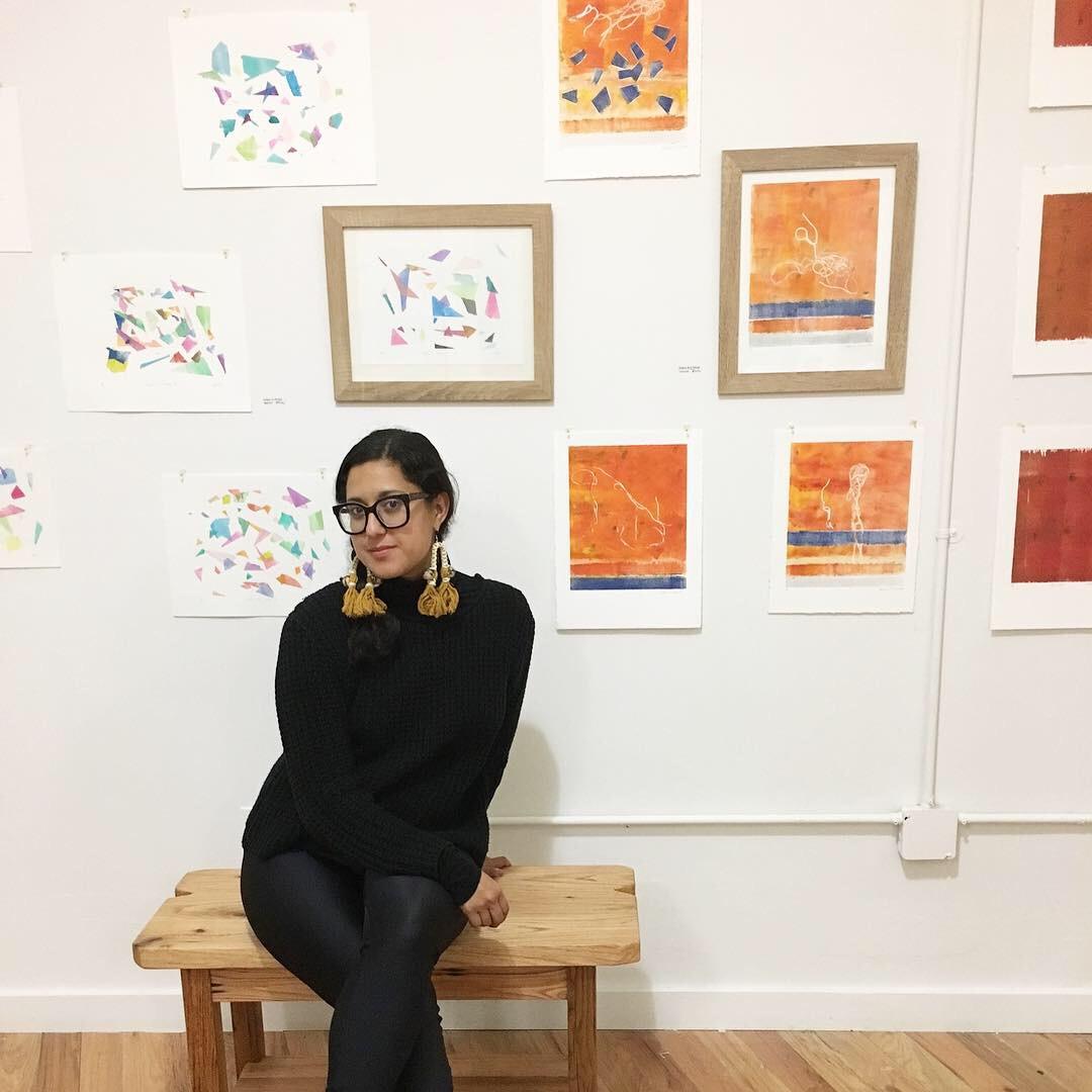 Me ( Stephanie M. Echeveste ) with my artwork