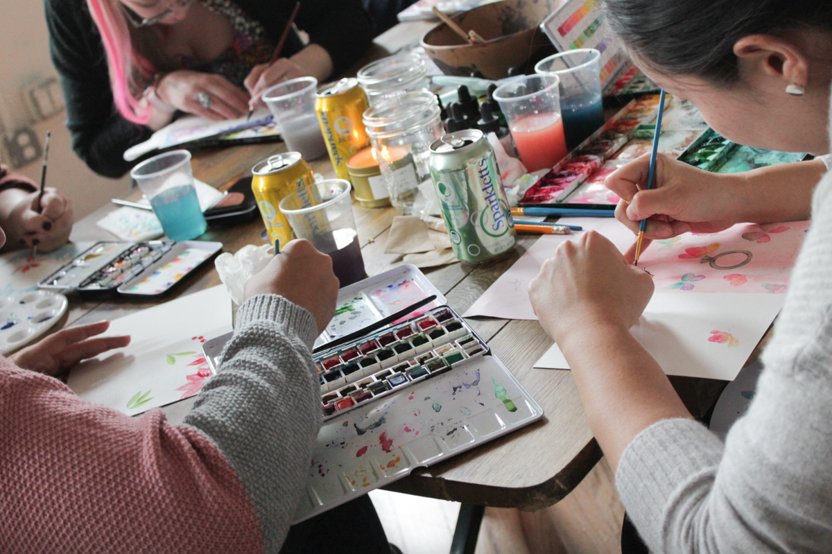 Watercoloring at Ana Victoria's book launch.