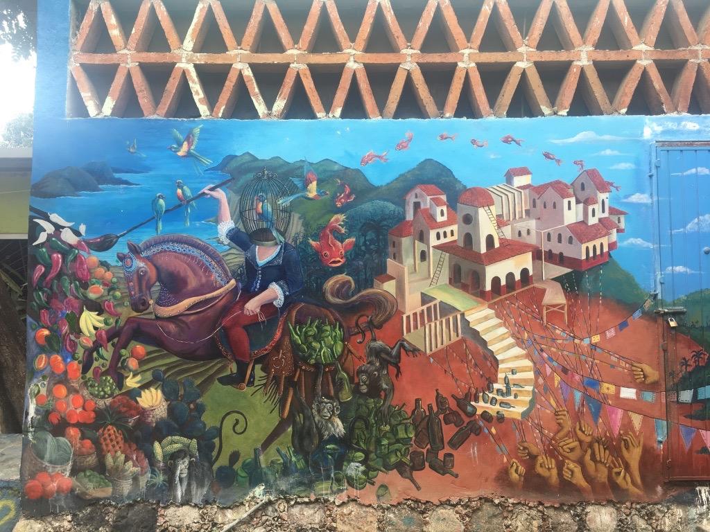Mural at  Entre Amigos  in San Pancho, Nayarit