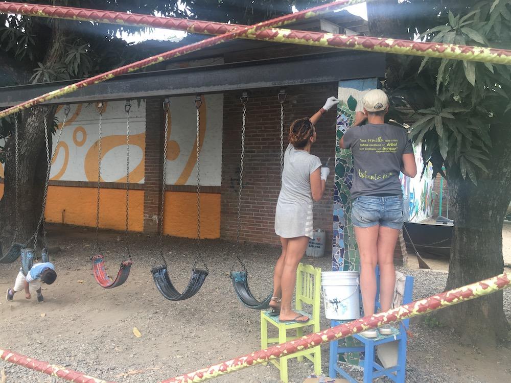 Mosaic in progress at Entre Amigos