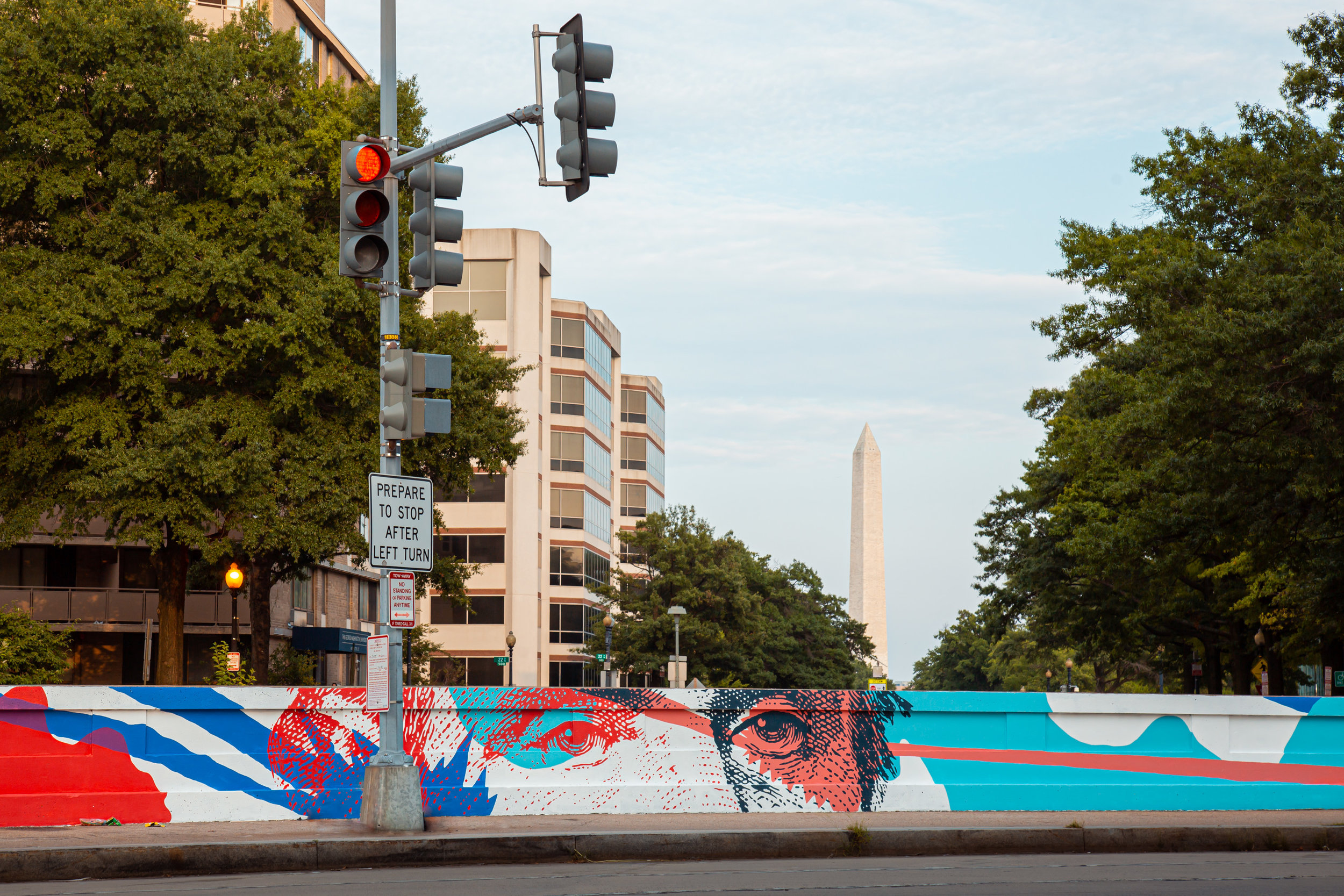 Mural by  JD Deardourff.  Project of CulturalDC for Abdo. Photo by Ryan Maxwell. Client: CulturalDC/Abdo. Location: Virginia Ave & 23rd St NW, Washington, DC.