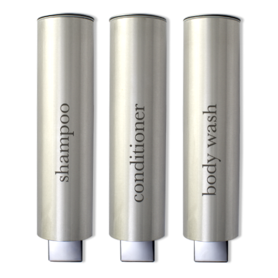 Brushed Aluminum Shampoo Dispensers for Hotels, Spas and Gyms.