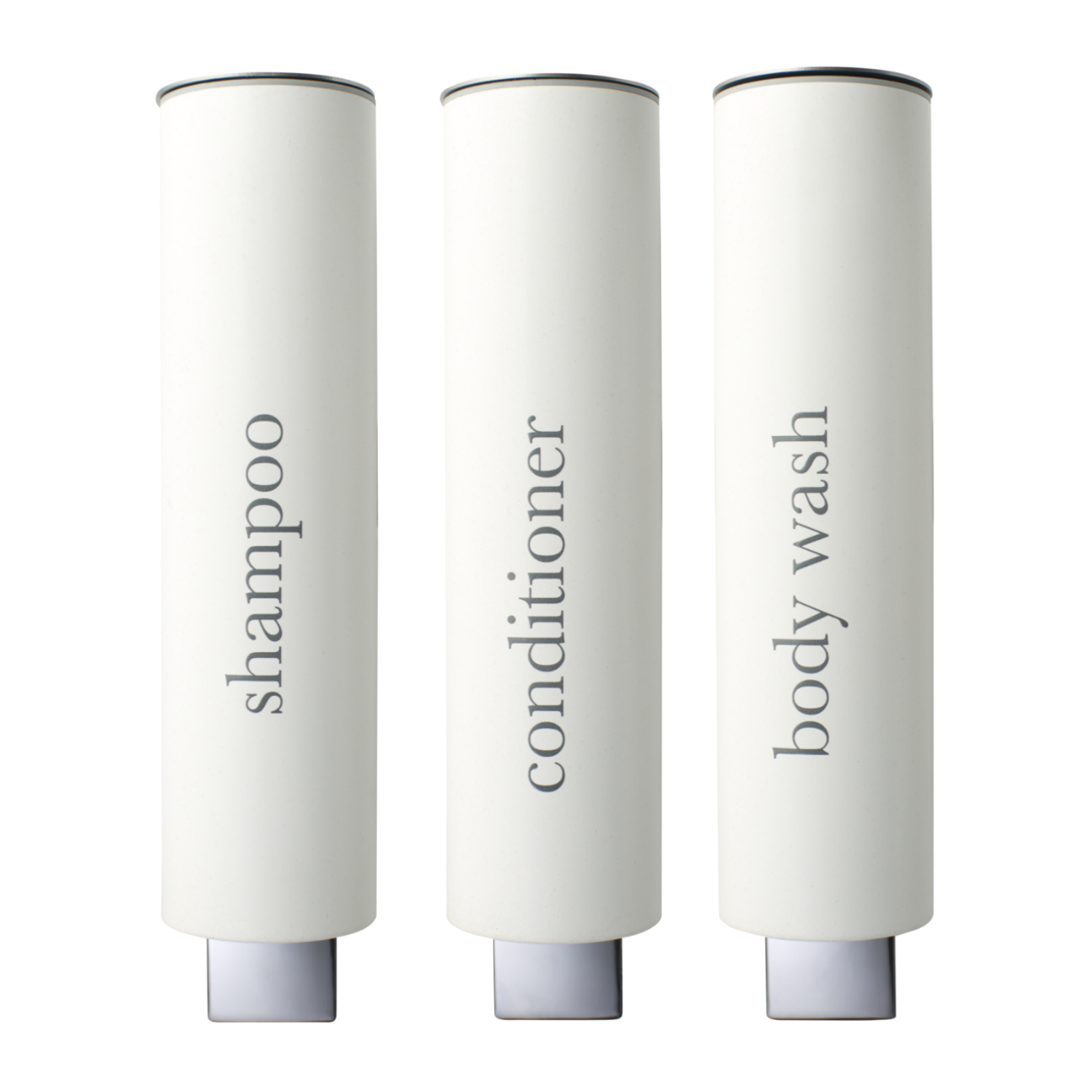 Kure matte white hotel shampoo dispensers with simple grey text.