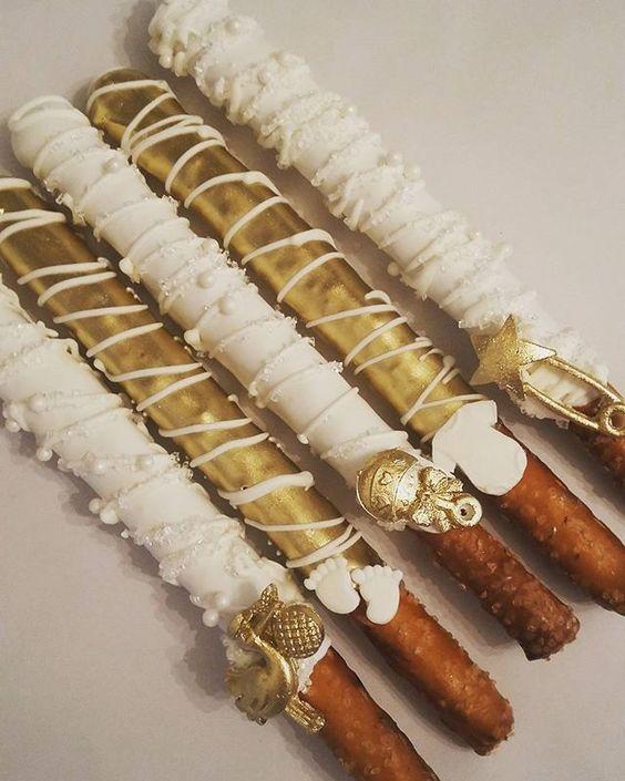 White & Gold Baby Shower Pretzels