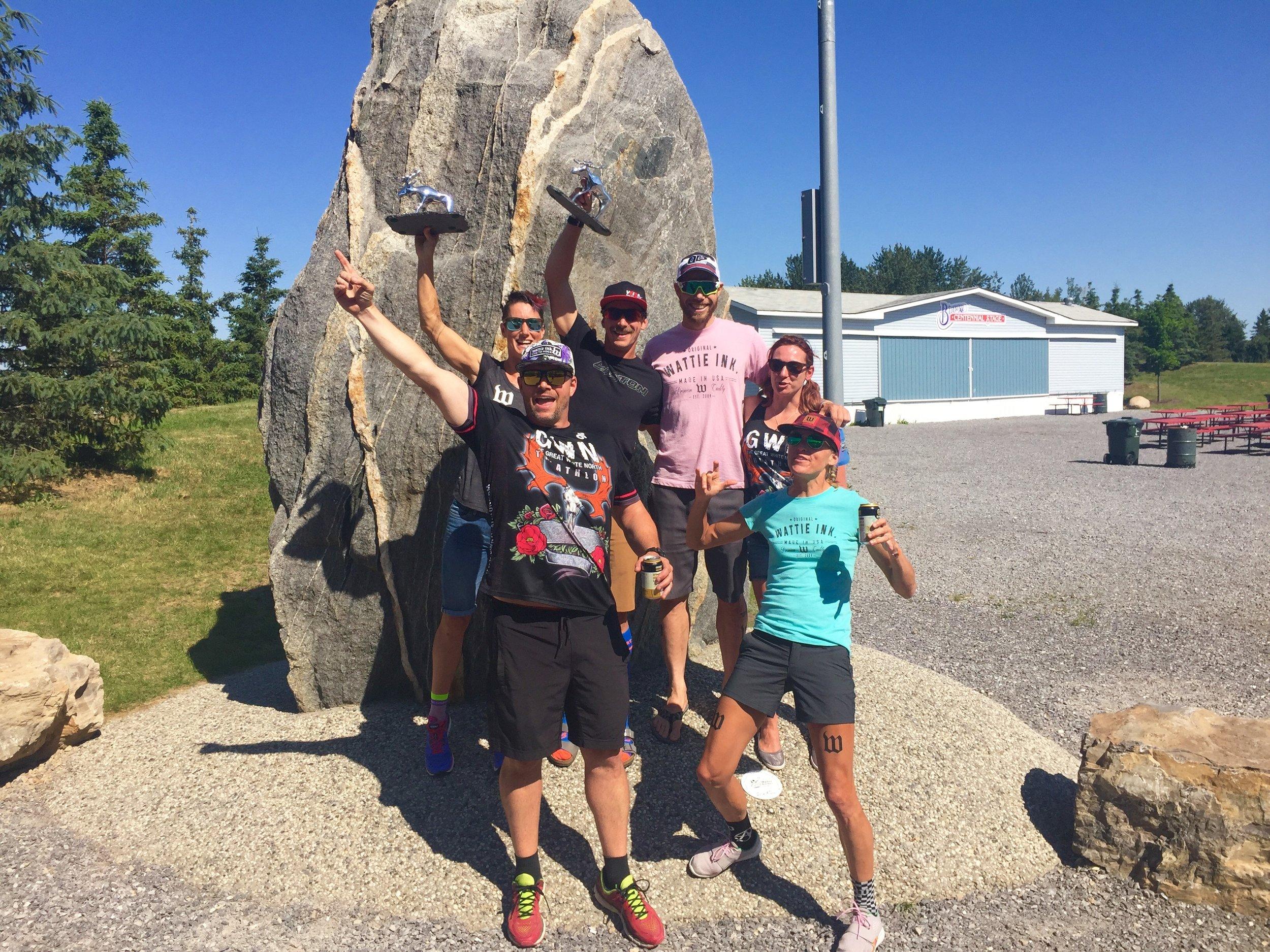 Mike, Bagg, VT, Rachel McBride, Nathan Killam, and Jenny Ayers aprés race