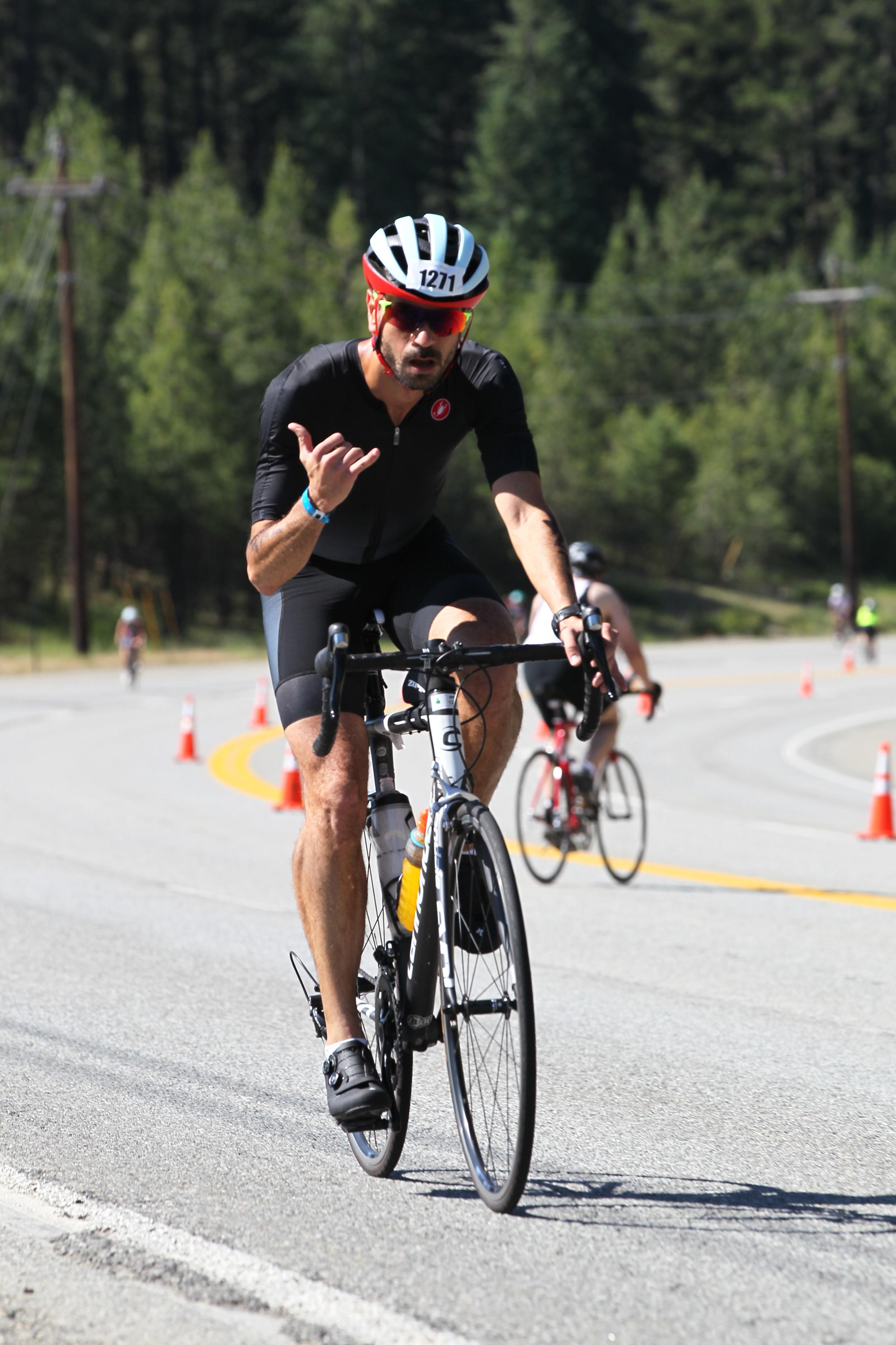 Hangin' loose, but following the nutrition plan on the bike at CDA 70.3