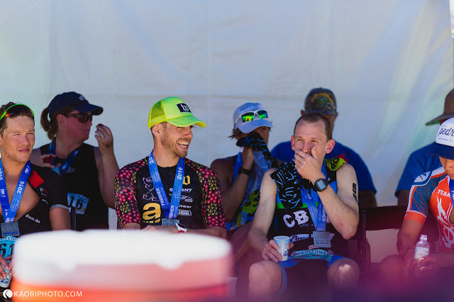 Coach Chris and Andrew chillin' w/ their medals aprés Wildflower Long Course 2016 photo: kaoriphoto.com